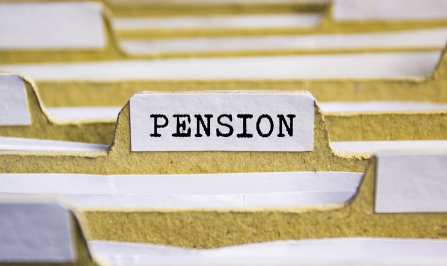 """Index card with the word """"pension"""""""
